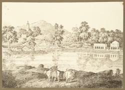 Hindu temples on Murad Hill on the road from Bodhgaya to Gaya (Bihar). 28 December 1824